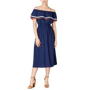 Maison Jules Cold Shoulder Polka Dot Dress